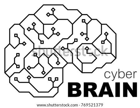 Vector Printed Circuit Board Human Brain Stock Vector Royalty Free