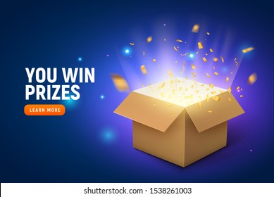 Vector prize gift box confetti explosion background. Open box winner reward.