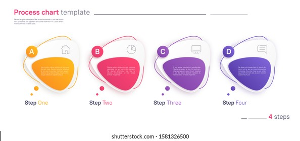 Vector process chart infographic template in the form of horizontal row composed of triangular rounded shapes. Four steps.