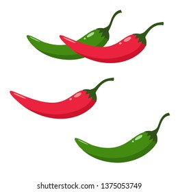 Vector product icon set of chili pepper. The product is a vegetable sharp red and green chili peppers. Illustration of food hot chilli pepper in flat minimalism style.