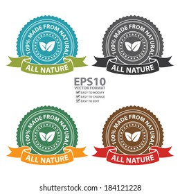 Vector : Product Information Material, Blue, Black, Green and Brown All Nature 100 Percent Made From Natural Sticker, Stamp, Icon, Tag, Badge or Label Isolated on White Background