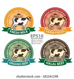 Vector : Product Information Material, Fresh Milk, Farm Fresh, Organic Beef and Halal Beef 100 Percent Premium Quality Always Fresh and Delicious Sticker, Rubber Stamp, Icon, Tag or Label