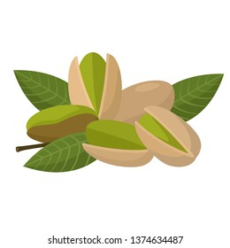 Vector product walnut pistachio icon. Pistachio nuts in the shell and with leaves. Illustration of food pistachio in flat minimalism style.