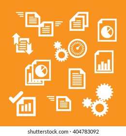 Vector production and warehouse management systems icons