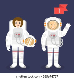 Vector profession characters: man and woman. Astronaut.