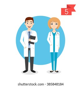Vector profession characters: man and woman. Doctor.