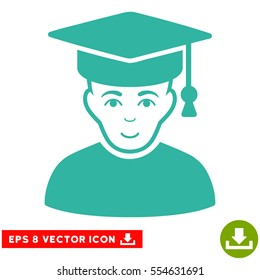 Vector Professor EPS vector pictogram. Illustration style is flat iconic cyan symbol on a transparent background.