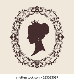Vector profile silhouette of a princess in a frame. Jewelry salon design illustration