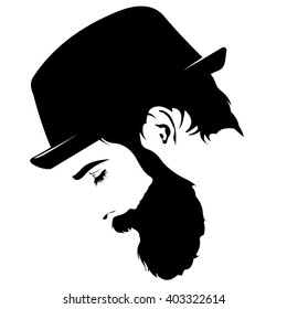 Vector profile view of sad bearded man wearing hat looking down