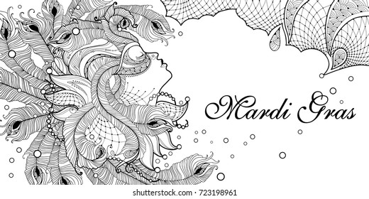 Vector profile woman face in carnival mask with outline peacock feathers, ornate collar and beads on the white background. Design for invitation Mardi Gras party and coloring book in contour style.