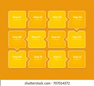 Vector progress background. Template for diagram, graph, presentation and chart. Business concept with 12 options, parts, steps or processes. Abstract background. eps 10