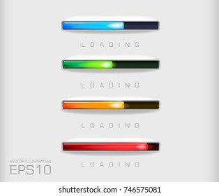 vector progress bar and loading different colors  file on a light background