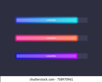 Vector progress loading bar set. Process indicator
