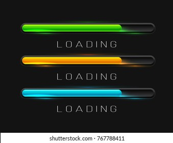 Vector progress loading bars with lighting isolated on dark background. Interface concept.