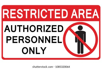 Vector Prohibited Sign Restricted Area For Authorized Personnel Only or No Enter Sign in Caution Zone
