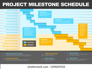 Vector project timeline graph - gantt progress chart of project blue and yellow version