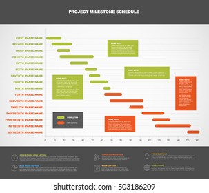 Vector project timeline graph - gantt progress chart of project