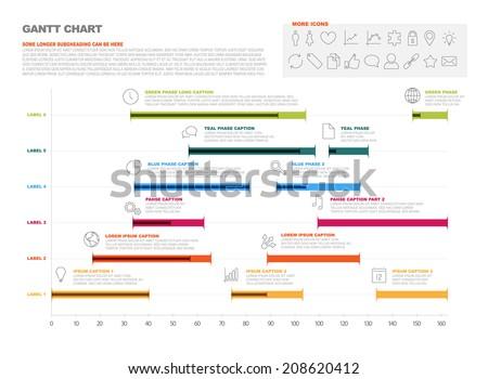 Vector Project Timeline Graph Gantt Progress Stock Vector Royalty