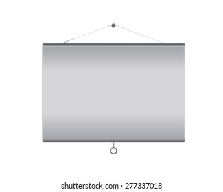 Vector projector screen hanging on wall with empty copy space, template for any presentation. Isolated on white background.