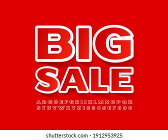 Vector promo badge Big Sale. Red and White sticker Font. Bright Alphabet Letters and Numbers set