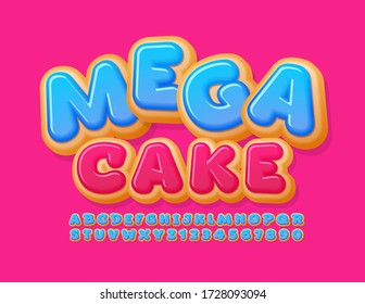 Vector promo banner Mega Sale with sweet Cake Font. Blue Glazed Donut Alphabet Letters and Numbers