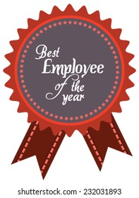Vector promo label of best employee service award of the year. Label to promote award or achievement.