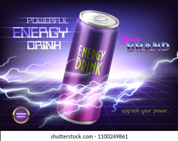 Vector promotion banner of powerful energy drink. Aluminum can with carbonated tonic, soda, alcoholic beverage on purple background with lightnings and electrical discharges. Mockup for brand design