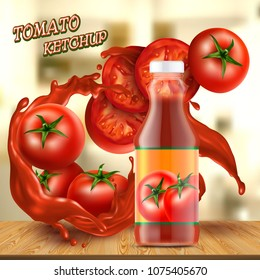 Vector promotion banner with realistic glass bottle of ketchup, with splashes of red sauce, with tomatoes and slices on background. Jar with paste or natural tomato juice. Mock-up for brand advertising