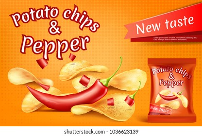 Vector promotion banner with realistic potato chips and red hot chili pepper, high-calorie meal in foil package, with crispy spicy snacks on orange background. Mockup for packaging design