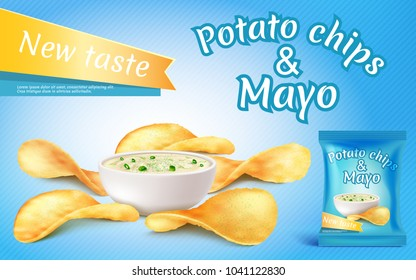 Vector promotion banner with realistic potato chips and mayo in bowl. Fast food with mayonnaise, foil package with crispy salted snacks on blue background. Mockup for brand ad, packaging design