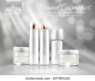 Vector promotion banner with realistic set of silver bottles and jars for face mask, hand cream, body lotion, hair spray with dispenser. Premium cosmetic products series for skin care and treatment