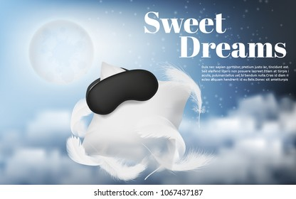 Vector promotion banner with realistic white pillow, blindfold, feathers, isolated on blue night background with moon and clouds. Soft cushion and black mask for comfortable sleep and sweet dreams
