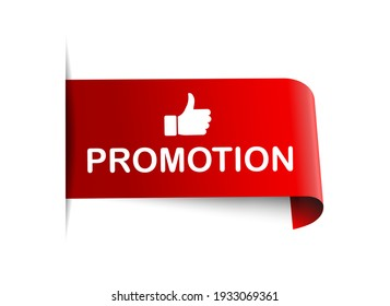 vector promotion ribbon. promotion sign. promotion banner with thumbs up
