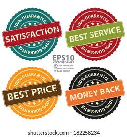 Vector : Promotional or Marketing Material, Sticker, Rubber Stamp, Icon or Label for Satisfaction, Best Service, Best Price and Money Back 100 Percent Guarantee Isolated on White Background