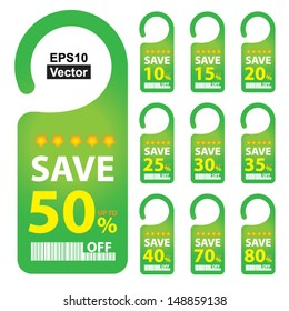 Vector : Promotional Sale Labels Set, Present By Green Save 10-80 Percent Off Tag Isolated on White Background