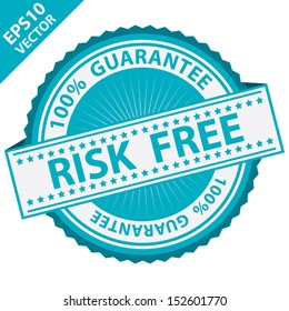 Vector : Promotional Sale Tag, Sticker or Badge, Present By Blue Risk Free Label With 100 Percent Guarantee Text Around Isolated on White Background
