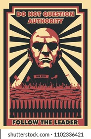 Vector Propaganda Poster Obey Style. Follow the Leader
