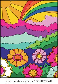 Vector Psychedelic Background, Cover, Poster Template 1960s Hippie Style Psychedelic Art