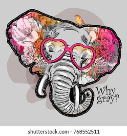 Vector psychedelic elephant. Portrait of elephant with flowers and bird