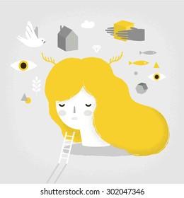 Vector psychology illustration of dreaming girl.