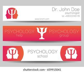 Vector Psychology Web banner design background or header Templates. Psi logo. Symbol and icon, logotype. Profile Human. Creative style. Brand company concept. Pink color.