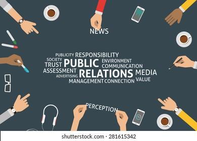 vector public relations concept,template