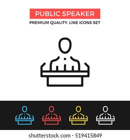 Vector public speaker icon. Press conference, speech. Premium quality graphic design. Signs, outline symbols collection, simple thin line icons set for websites, web design, mobile app, infographics