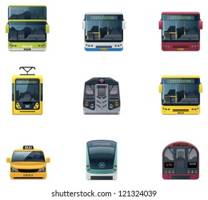 Vector public transport icon set. Includes city and intercity buses, train, tramway, metro, taxi and other