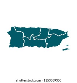 Vector Puerto Rico Map Isolated On White Background