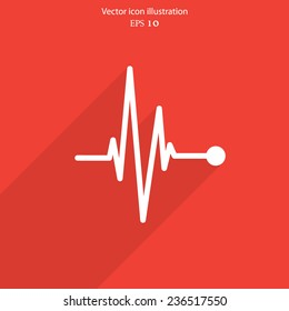 Vector pulse icon Heart beat, cardiogram. Eps 10.