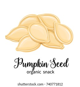 Vector pumpkin seeds in cartoon style for template label, packing and emblem farmer market design