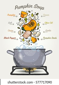Vector Pumpkin Soup Ingredients Falling Down to Pot with Boiling Water