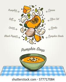 Vector Pumpkin Soup on Table