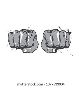 Vector Punching Clenched Fists. Martial arts, Self Defense, Fight Sports Grungy Logo, Emblem. Professional Modern Business, Branding Icon. Hand Drawn Illustration.